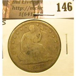 1877 S U.S. Seated Liberty Half Dollar, Very Good.