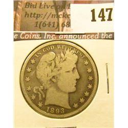 1893 P Barber Half Dollar, VG.