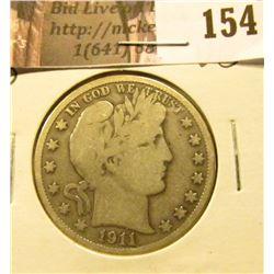 1911 D Barber Half Dollar, VG.