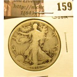 1916 D Walking Liberty Half Dollar, Good, rim cut on obverse.
