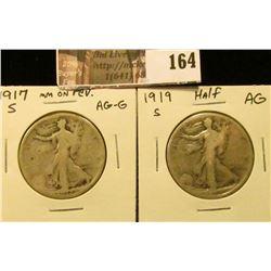 1917 Reverse S Mintmark AG-G & 1919 S AG Walking Liberty Half Dollars.