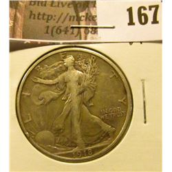 1918 P Walking Liberty Half Dollar, VF.