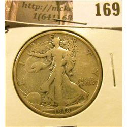 1918 S Walking Liberty Half Dollar, Fine.