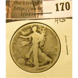 1919 P Walking Liberty Half Dollar, AG.