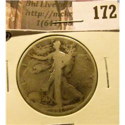 1919 D Walking Liberty Half Dollar, Good.