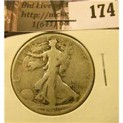 1920 S Walking Liberty Half Dollar, Good.