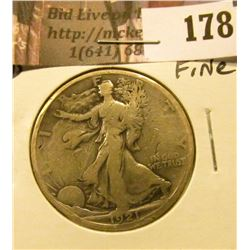 1921 D Walking Liberty Half Dollar, Fine.