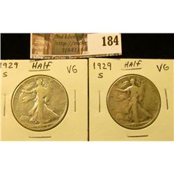 (2) 1929 S Walking Liberty Half Dollars, both VG.