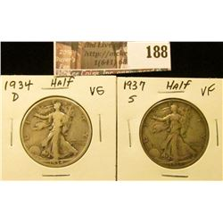 1934 D VG & 37 S VF Walking Liberty Half Dollars.