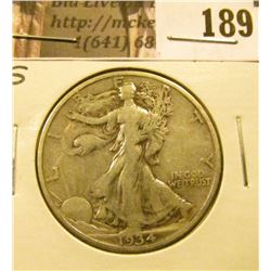 1934 S Walking Liberty Half Dollar, F-VF.