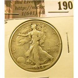 1934 S Walking Liberty Half Dollar, VF.