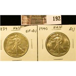 1939 P EF-AU & 1940 P AU  Walking Liberty Half Dollars.