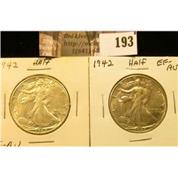 (2) 1942 P  Walking Liberty Half Dollars, EF-AU.