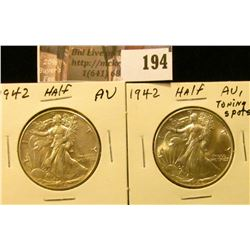 (2) 1942 P Walking Liberty Half Dollars, AU.