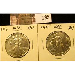 1942 P AU & 44 P AU Walking Liberty Half Dollars.