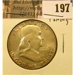 1955 P Franklin Half Dollar, BU, toning.