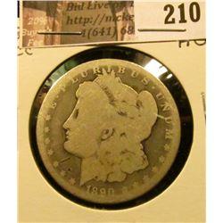 1890 CC Morgan Silver Dollar, About Good.