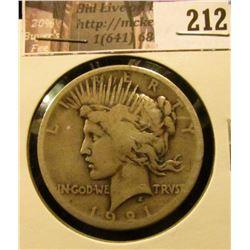 1921 P U.S. Peace Silver Dollar, Good-VG.