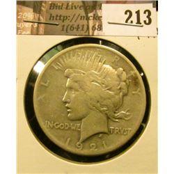 1921 P U.S. Peace Silver Dollar, Fine.