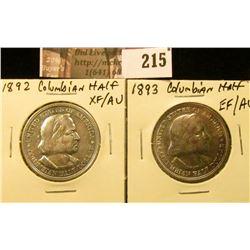1892 EF-AU & 1893 EF-AU Columbian Exposition Commemorative Half Dollars.