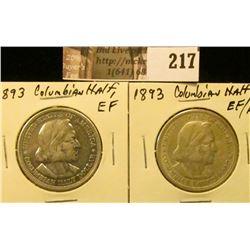 (2) 1893 EF-AU Columbian Exposition Commemorative Half Dollars.