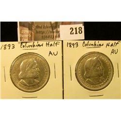 (2) 1893 AU Columbian Exposition Commemorative Half Dollars.