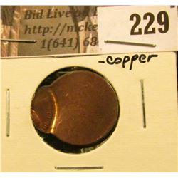 Dateless off-center, copper Lincoln Cent Mint error.