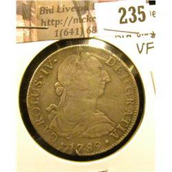 1789 Mexico 8 Reales, FM, uneven VF wear, bent, rim ding.