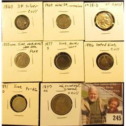 U.S. Coins Cull Lot: Three Cent Silver, Three Cent Nickel; Buffalo Nickel; (4) Seated Dimes & a Seat