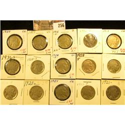 1913P T.1, 16P, D, 17P, 20P, 21P, 23P, 24P, 25P, 26P, 27P, 28P, D, S, & 36S Buffalo Nickels. All car
