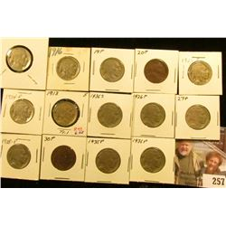 1913 P T.1, 16P, 19P, 20P, 23P, 24P, 25P, 26P, 27P, 28P, 30P, 35P, 36P, & S Buffalo Nickels. All car