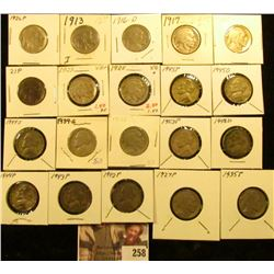1913P T.1, 16D, 17P, 20P, 21P, 23P, 25P, 26P, 27P, 28P, & 35P Buffalo Nickels; 1939S, 42P, 43P, 44P,