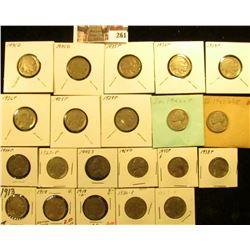 1913P, 18P, D (acid date), 20P, 23P, 25P, 26P, 27P, 28P, 29P, 34P, 35P, D, 36D Buffalo Nickels; 1938