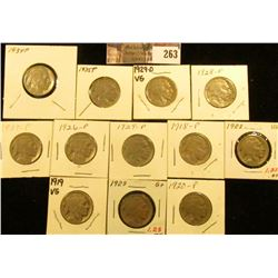 1918P, 19P, 20P, 23P, 26P, 27P, 28P, 29P, D, 34P, & 35P Buffalo Nickels. All carded.