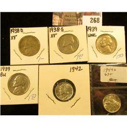 1938D EF, 38S EF, (2) 39P EF-Unc Jefferson Nickels; 1942P BU & 44P BU Mercury Dimes.