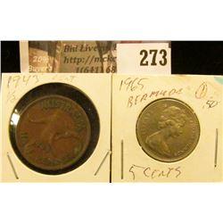 1943 Australia Half Penny & 1965 Bahama Five Cent Coins.