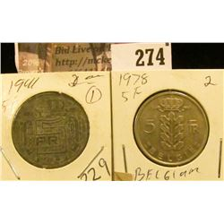 Belgium Coins: 1941 & 1978  Five Franks.