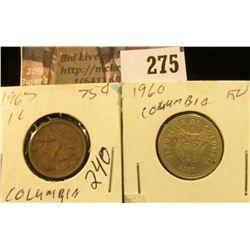 Colombia Coins: 1967 1 Cen & 1960 Ten Pesos.