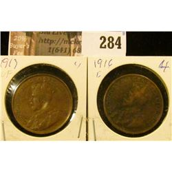 1913 VF & 1916 VG Canada Large Cents