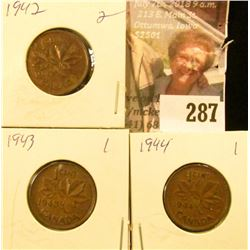 1942 Red-Brown BU, 1943 EF, & 1944 EF Canada Small Cents