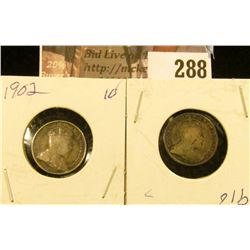 1902 & 1910 Canada Five Cent Silvers.