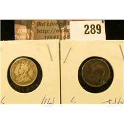 1911 & 1912 Canada Five Cent Silvers.