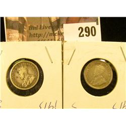 1913 & 1917 Canada Five Cent Silvers.