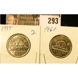 1955 & 1961 Canada Nickels, both BU.