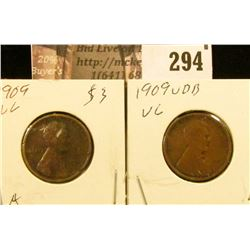1909 P & 1909 P VDB Lincoln Cents, both grade VG.