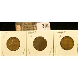 1919P, D, & S Lincoln Cents.