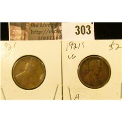 1921 P & S Lincoln Cents.