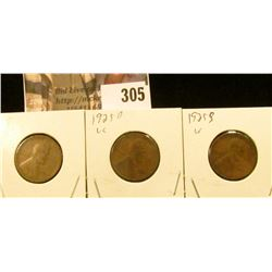 1925P, D, & S Lincoln Cents.