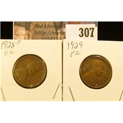 1928 D & 29 P EF Lincoln Cents.