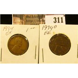 1934 P & D Lincoln Cents. Both EF.